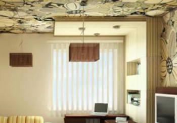 Обои одной текстуры на потолке и стенах
