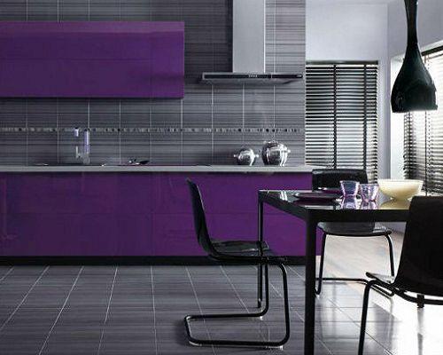 Серый цвет на полу и фартуке столовой