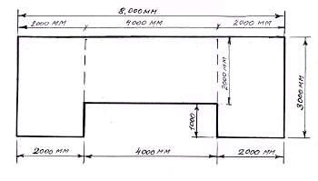 Площадь потолка состоит из суммы нескольких прямоугольников