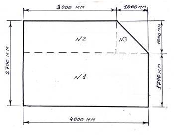 прямоугольный потолок со срезанным углом