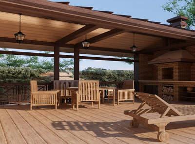 летняя открытая деревянная терраса